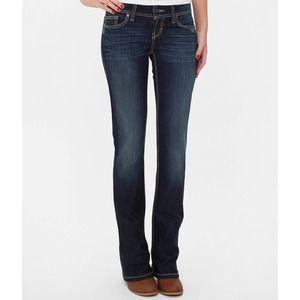 BKE Stella Boot Bootcut Jeans Dark Wash Low Rise Size 28L 28 Long